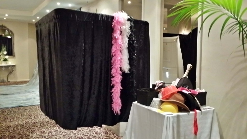 Booth setup at an event  All ready for your wedding guests.